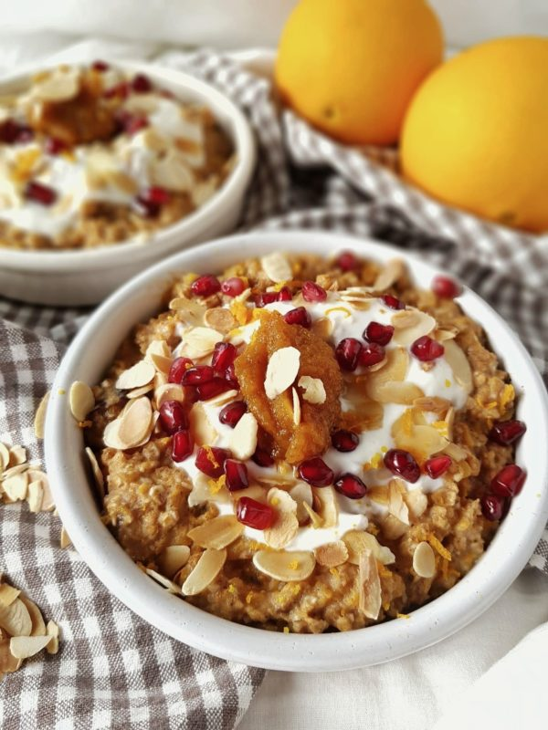 Pumpkin pie- oatmeal met confituur van butternut en sinaas