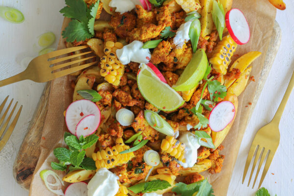 Kip shoarma met aardappelwedges en gebrande mais
