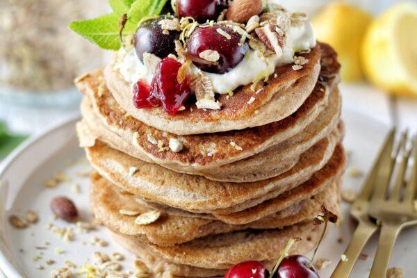 Vegan kersen pancakes